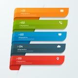 Infographicmalplaatje met de pijlen van lintenbanners 5 opties Royalty-vrije Stock Foto