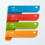 Infographicmalplaatje met de pijlen van lintenbanners 4 opties Stock Afbeeldingen