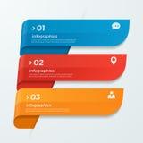 Infographicmalplaatje met de pijlen van lintenbanners 3 opties Stock Fotografie