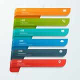 Infographicmalplaatje met de pijlen van lintenbanners 6 opties Stock Afbeeldingen