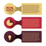 Infographicmalplaatje met drie kaders en pictogrammen Royalty-vrije Stock Afbeeldingen