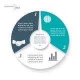 Infographicmalplaatje met drie segmenten stock illustratie