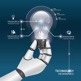 Infographicmalplaatje met het ontwerp van de greep gloeilampen van de robothand. Stock Afbeelding