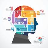 Infographicmalplaatje met Hoofdfiguurzaagbanner stock illustratie