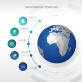 Infographicmalplaatje met vijf cirkels Royalty-vrije Stock Afbeeldingen