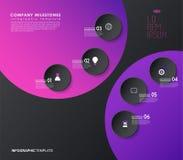 Infographicmalplaatje met vijf kleurrijke vormen en pictogrammen Stock Fotografie