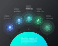 Infographicmalplaatje met vijf kleurrijke vormen en pictogrammen Royalty-vrije Stock Fotografie