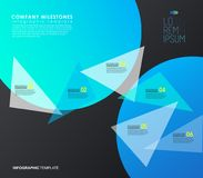 Infographicmalplaatje met vijf kleurrijke vormen en pictogrammen Royalty-vrije Stock Foto's