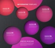 Infographicmalplaatje met vijf kleurrijke vormen en pictogrammen Royalty-vrije Stock Afbeeldingen