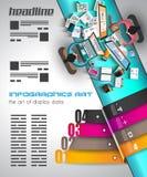 Infographicmalplaatje met vlakke UI-pictogrammen voor ttem het rangschikken Royalty-vrije Stock Afbeeldingen
