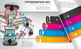 Infographicmalplaatje met vlakke UI-pictogrammen voor ttem het rangschikken Stock Foto