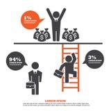 Infographicmalplaatje met Zakenman Climbing Ladder royalty-vrije illustratie