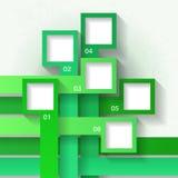 Infographicmalplaatje met zes vierkanten Stock Afbeelding