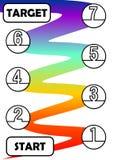 Infographicmalplaatje voor proces in zeven stappen met begin en doel De individuele processtappen worden verbonden door een regen Stock Fotografie