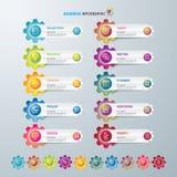 Infographicontwerp malplaatje en marketing pictogrammen, Bedrijfsconcept met 10 opties Royalty-vrije Stock Foto's