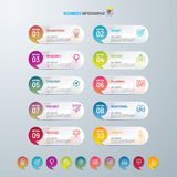 Infographicontwerp malplaatje en marketing pictogrammen, Bedrijfsconcept met 10 opties Stock Foto's