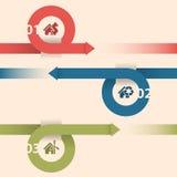 Infographicontwerp met pijlen en huispictogrammen Stock Foto's
