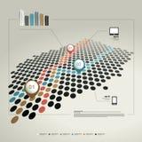 Infographicpagina met grafieken en tekstgebieden Stock Fotografie