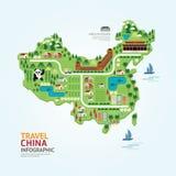 Infographicreis en van de de kaartvorm van oriëntatiepuntchina het malplaatjeontwerp Stock Afbeelding