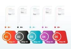 Infographics五步设计 与圆标签的模板 公司布局 事务的背景, infographic,图,菜单 库存例证