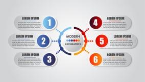 Infographics企业6步选择概念水平的时间安排工艺卡片模板 传染媒介现代横幅 皇族释放例证