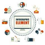 Infographics元素 一天薪金人概念 免版税库存照片