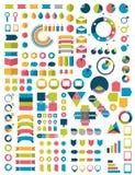 infographics平的设计元素的大收藏 库存例证