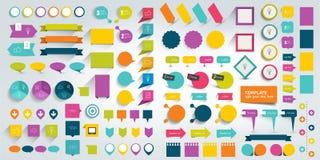 infographics平的设计元素的汇集 向量例证