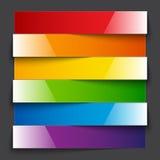 Infographics彩虹发光的纸条纹横幅 库存图片