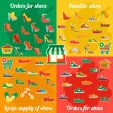 Infographics待售鞋子 与许多零件的五颜六色的背景 免版税图库摄影