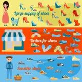 Infographics待售鞋子 与许多零件的五颜六色的背景 库存照片