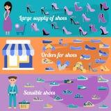 Infographics待售鞋子 与许多零件的五颜六色的背景 免版税库存照片