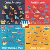 Infographics待售鞋子 与许多零件的五颜六色的背景 免版税库存图片
