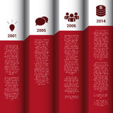 Infographics时间安排红色&白色墙壁传染媒介报告 库存照片