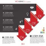 Infographics模板的现代箭头与信件和数字 免版税库存图片