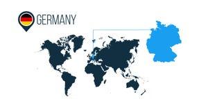 infographics的德国地点现代传染媒介地图 没有名字的所有世界国家 德国在地图别针的回合旗子或 库存例证
