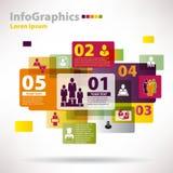 infographics的现代传染媒介元素与云彩 库存照片