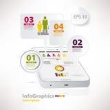 infographics的现代传染媒介元素与白色智能手机 免版税图库摄影