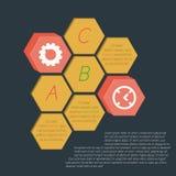 Infographics蜂窝(六角) isothermally被画 库存照片