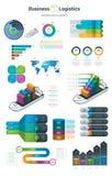 Infographics设置了与选择 Infographic、图和象 企业和后勤学概念有白色背景 向量例证