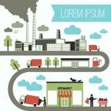 Infographics από το εργοστάσιο στο κατάστημα διανυσματική απεικόνιση
