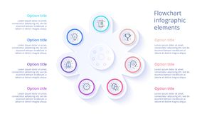 Infographics διαγραμμάτων επιχειρησιακής διαδικασίας με 7 τμήματα βημάτων Circul απεικόνιση αποθεμάτων