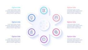 Infographics διαγραμμάτων επιχειρησιακής διαδικασίας με 6 τμήματα βημάτων Circul διανυσματική απεικόνιση