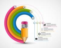 Infographics εκπαίδευσης για τις παρουσιάσεις ή το βιβλιάριο πληροφοριών Διάγραμμα με το μολύβι διανυσματική απεικόνιση