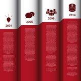 Infographics διανυσματική έκθεση τοίχων υπόδειξης ως προς το χρόνο κόκκινη & άσπρη Στοκ Φωτογραφίες