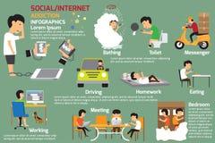 Infographics κοινωνικού ή εθισμού Διαδικτύου απεικόνιση αποθεμάτων