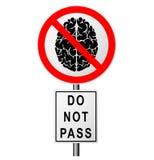 Infographics με ένα σημάδι στο δρόμο που απαγορεύει τη μετάβαση εκείνοι που σκέφτονται Απαγόρευση στους ηλίθιους ανθρώπους Το έξυ Στοκ Εικόνα