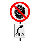 Infographics με ένα σημάδι στο δρόμο που απαγορεύει τη μετάβαση εκείνοι που σκέφτονται Απαγόρευση στους ηλίθιους ανθρώπους Το έξυ Στοκ Εικόνες