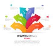 Infographics με 6 διακλαδιμένος κυκλικά βέλη επιλογής Διάνυσμα tem διανυσματική απεικόνιση