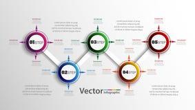 Infographics πέντε βημάτων με τους ζωηρόχρωμους κύκλους Διανυσματικό διάγραμμα, διάγραμμα, γραφική παράσταση με τα βήματα, επιλογ Στοκ Φωτογραφίες